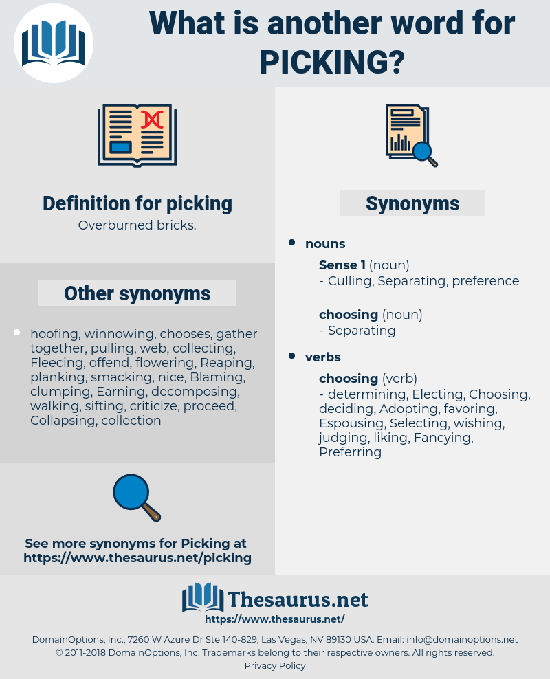 picking, synonym picking, another word for picking, words like picking, thesaurus picking