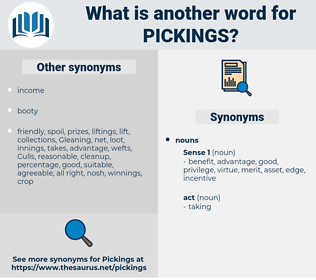 pickings, synonym pickings, another word for pickings, words like pickings, thesaurus pickings