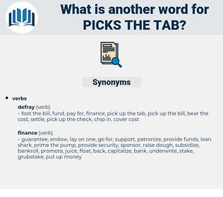 picks the tab, synonym picks the tab, another word for picks the tab, words like picks the tab, thesaurus picks the tab