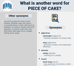 piece of cake, synonym piece of cake, another word for piece of cake, words like piece of cake, thesaurus piece of cake