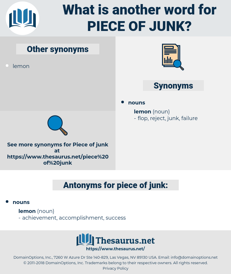 piece of junk, synonym piece of junk, another word for piece of junk, words like piece of junk, thesaurus piece of junk