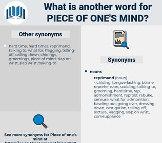 piece of one's mind, synonym piece of one's mind, another word for piece of one's mind, words like piece of one's mind, thesaurus piece of one's mind