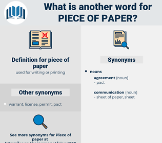 piece of paper, synonym piece of paper, another word for piece of paper, words like piece of paper, thesaurus piece of paper
