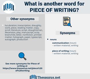 piece of writing, synonym piece of writing, another word for piece of writing, words like piece of writing, thesaurus piece of writing