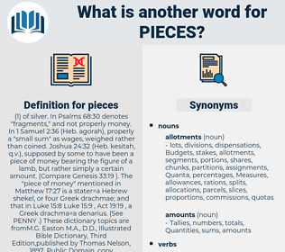 pieces, synonym pieces, another word for pieces, words like pieces, thesaurus pieces