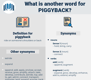 piggyback, synonym piggyback, another word for piggyback, words like piggyback, thesaurus piggyback