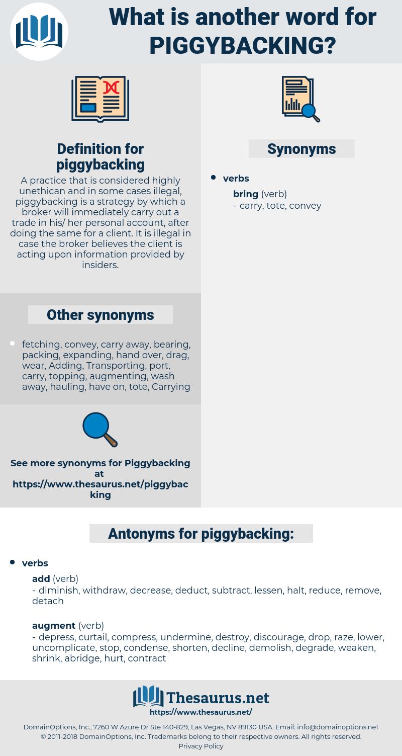 piggybacking, synonym piggybacking, another word for piggybacking, words like piggybacking, thesaurus piggybacking
