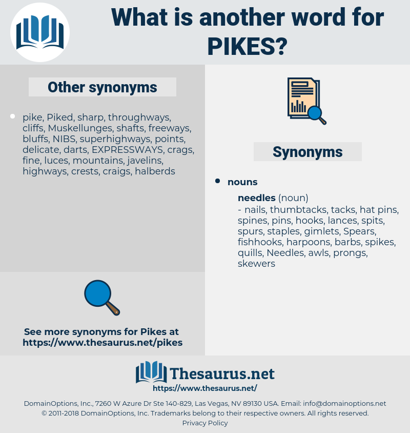 pikes, synonym pikes, another word for pikes, words like pikes, thesaurus pikes