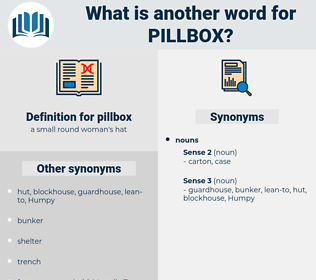 pillbox, synonym pillbox, another word for pillbox, words like pillbox, thesaurus pillbox