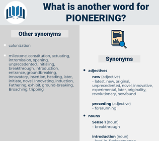 Pioneering, synonym Pioneering, another word for Pioneering, words like Pioneering, thesaurus Pioneering