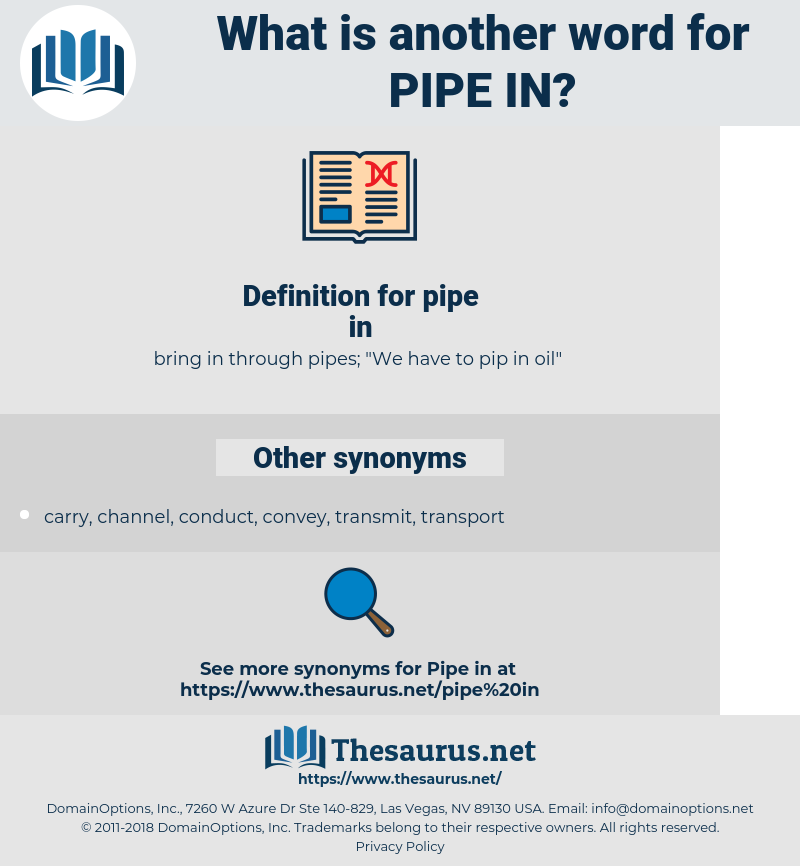 pipe in, synonym pipe in, another word for pipe in, words like pipe in, thesaurus pipe in