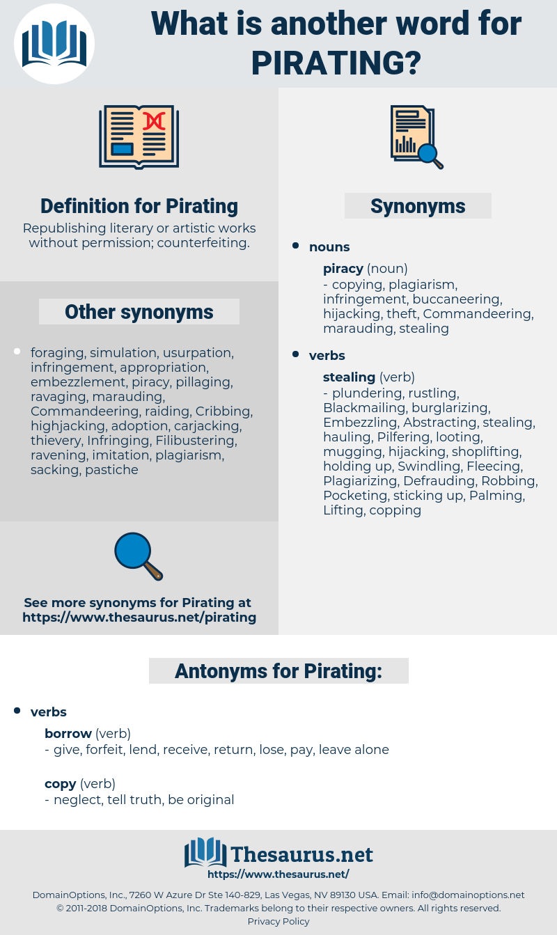 Pirating, synonym Pirating, another word for Pirating, words like Pirating, thesaurus Pirating