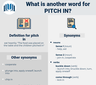 pitch in, synonym pitch in, another word for pitch in, words like pitch in, thesaurus pitch in