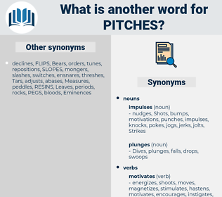 pitches, synonym pitches, another word for pitches, words like pitches, thesaurus pitches