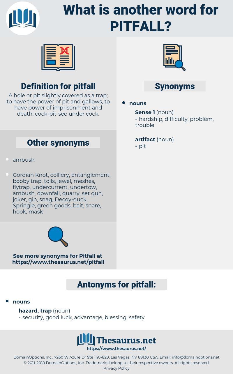 pitfall, synonym pitfall, another word for pitfall, words like pitfall, thesaurus pitfall