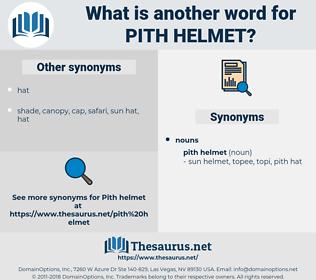 pith helmet, synonym pith helmet, another word for pith helmet, words like pith helmet, thesaurus pith helmet