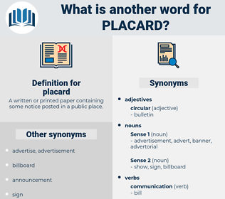 placard, synonym placard, another word for placard, words like placard, thesaurus placard