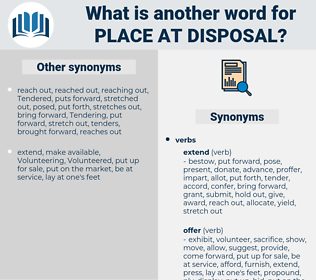 place at disposal, synonym place at disposal, another word for place at disposal, words like place at disposal, thesaurus place at disposal