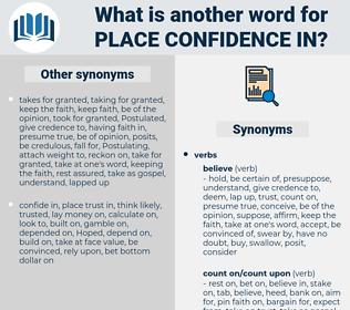 place confidence in, synonym place confidence in, another word for place confidence in, words like place confidence in, thesaurus place confidence in