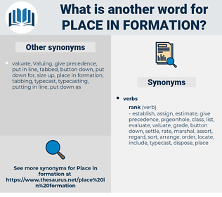 place in formation, synonym place in formation, another word for place in formation, words like place in formation, thesaurus place in formation