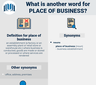 place of business, synonym place of business, another word for place of business, words like place of business, thesaurus place of business