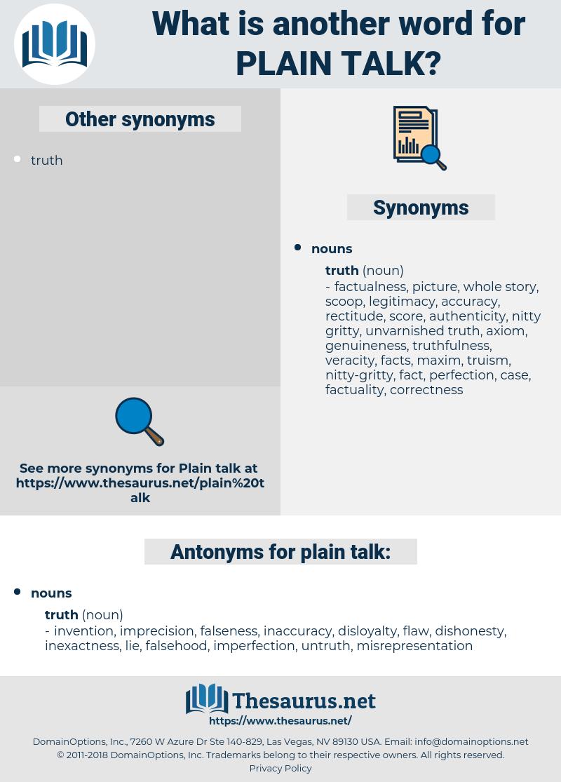 plain talk, synonym plain talk, another word for plain talk, words like plain talk, thesaurus plain talk