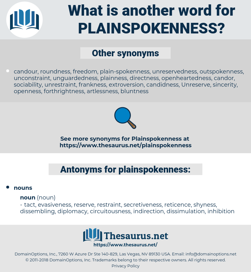 plainspokenness, synonym plainspokenness, another word for plainspokenness, words like plainspokenness, thesaurus plainspokenness