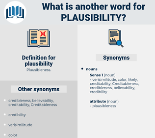 plausibility, synonym plausibility, another word for plausibility, words like plausibility, thesaurus plausibility