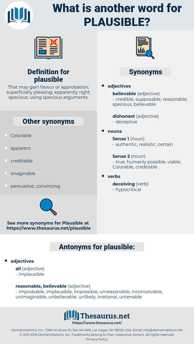 plausible, synonym plausible, another word for plausible, words like plausible, thesaurus plausible