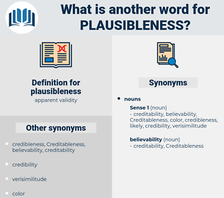 plausibleness, synonym plausibleness, another word for plausibleness, words like plausibleness, thesaurus plausibleness