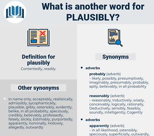 plausibly, synonym plausibly, another word for plausibly, words like plausibly, thesaurus plausibly
