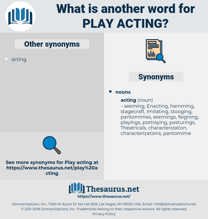 play acting, synonym play acting, another word for play acting, words like play acting, thesaurus play acting