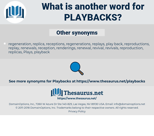 playbacks, synonym playbacks, another word for playbacks, words like playbacks, thesaurus playbacks