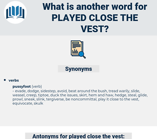played close the vest, synonym played close the vest, another word for played close the vest, words like played close the vest, thesaurus played close the vest