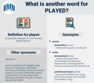played, synonym played, another word for played, words like played, thesaurus played