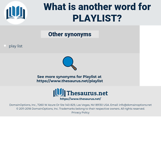 playlist, synonym playlist, another word for playlist, words like playlist, thesaurus playlist