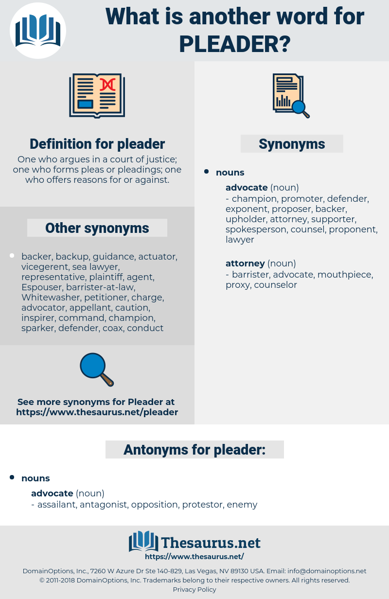 pleader, synonym pleader, another word for pleader, words like pleader, thesaurus pleader