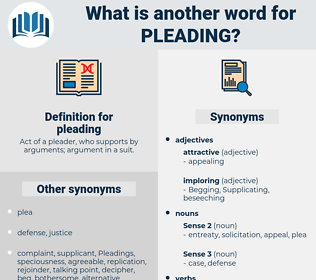 pleading, synonym pleading, another word for pleading, words like pleading, thesaurus pleading