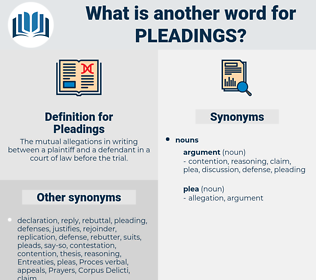 Pleadings, synonym Pleadings, another word for Pleadings, words like Pleadings, thesaurus Pleadings