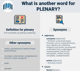 plenary, synonym plenary, another word for plenary, words like plenary, thesaurus plenary
