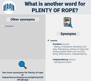 plenty of rope, synonym plenty of rope, another word for plenty of rope, words like plenty of rope, thesaurus plenty of rope