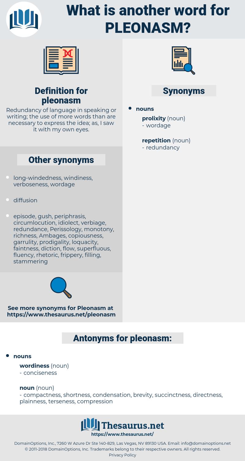 pleonasm, synonym pleonasm, another word for pleonasm, words like pleonasm, thesaurus pleonasm