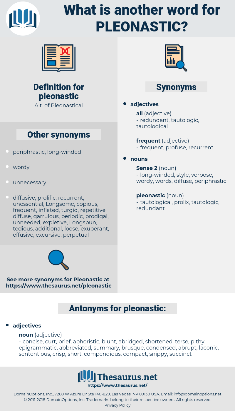 pleonastic, synonym pleonastic, another word for pleonastic, words like pleonastic, thesaurus pleonastic