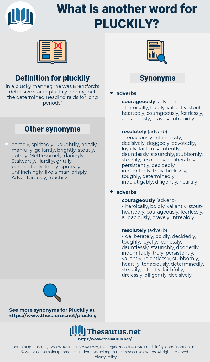 pluckily, synonym pluckily, another word for pluckily, words like pluckily, thesaurus pluckily