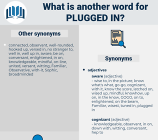 plugged in, synonym plugged in, another word for plugged in, words like plugged in, thesaurus plugged in