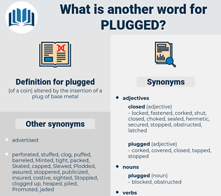 plugged, synonym plugged, another word for plugged, words like plugged, thesaurus plugged