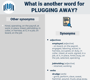 plugging away, synonym plugging away, another word for plugging away, words like plugging away, thesaurus plugging away