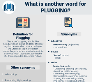 Plugging, synonym Plugging, another word for Plugging, words like Plugging, thesaurus Plugging