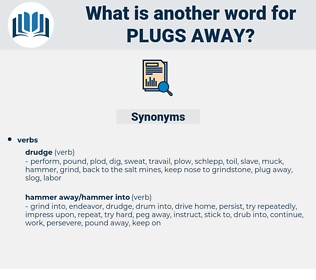 plugs away, synonym plugs away, another word for plugs away, words like plugs away, thesaurus plugs away