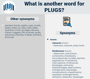 plugs, synonym plugs, another word for plugs, words like plugs, thesaurus plugs